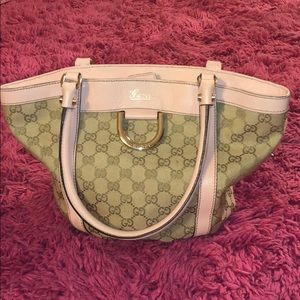 Gucci horse bit tote pink/ tan never used